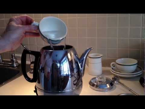 General Electric Coffee Percolator pot belly 1950's vintage Model P410A Stainless Steel